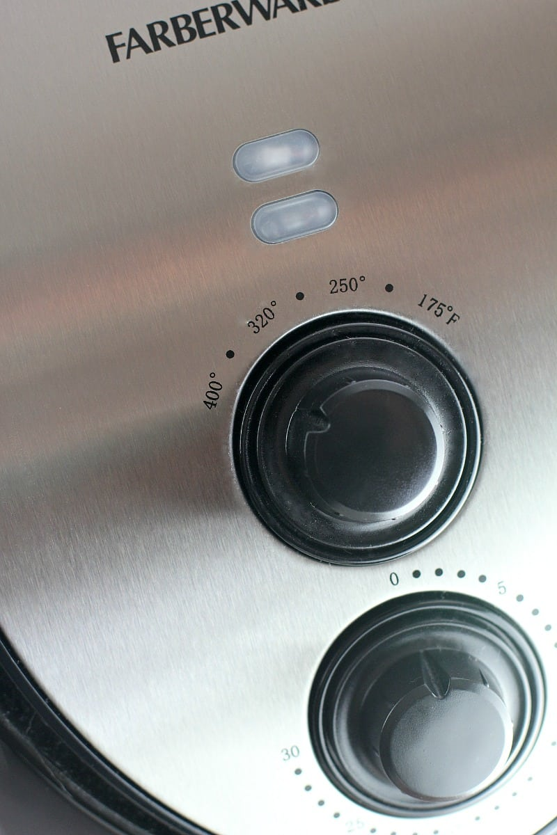 view of the control dials of the air fryer