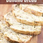 image for sharing on social media of sliced banana bread with text overlay of recipe title