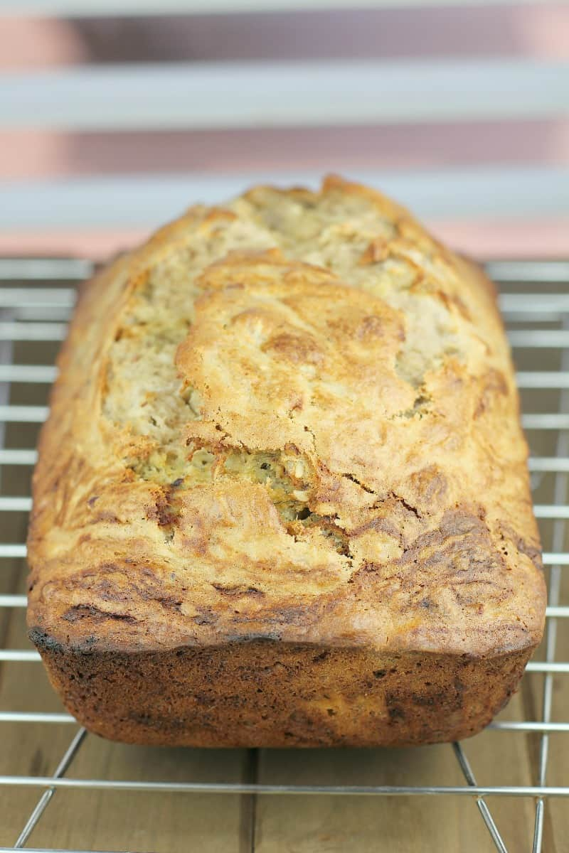side view of quick bread loaf