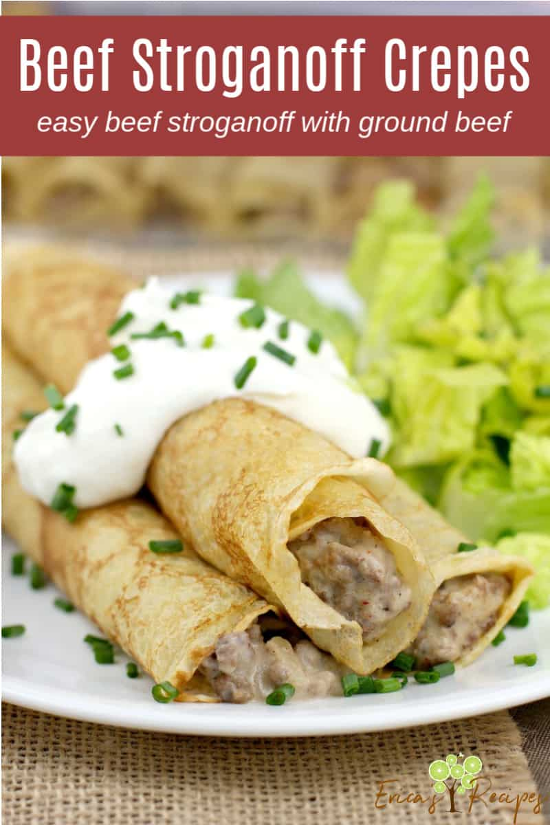 image for pinterest; text of recipe title Beef Stroganoff Crepes at the top