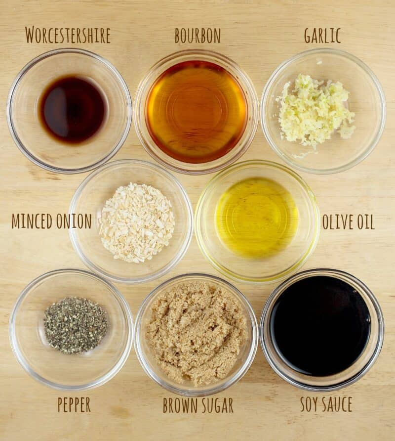 bourbon marinade ingredients in small glass bowls