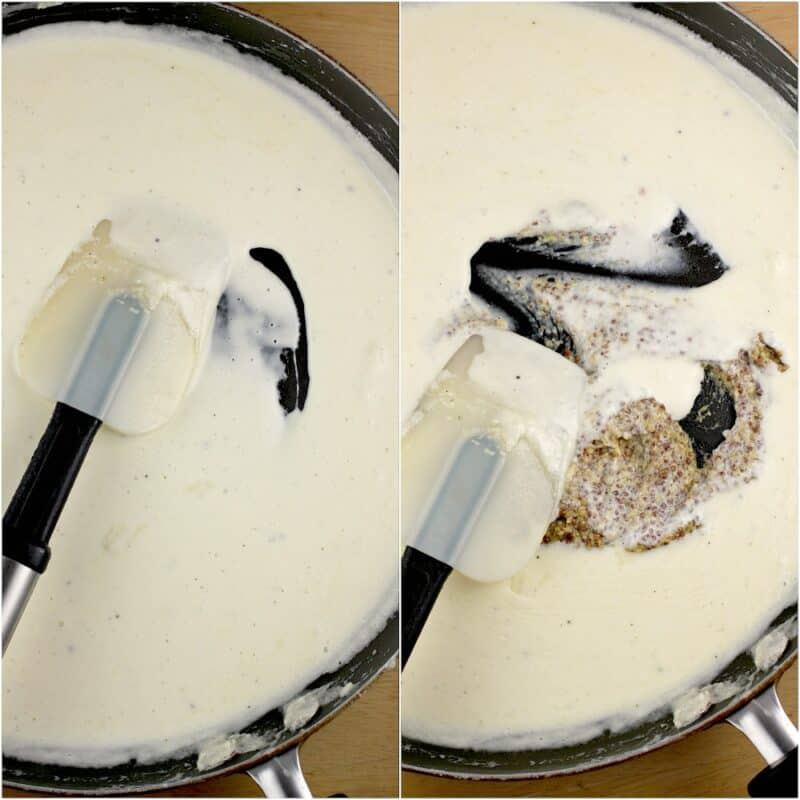 collage of 2 photos: left, thickened cream in skillet; right, mustard added to the cream