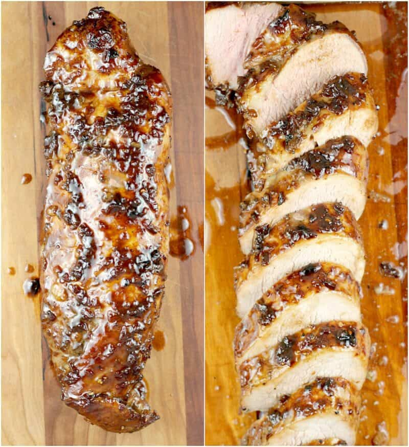 collage of 2 photos: left, cooked pork tenderloin; right, sliced pork tenderloin