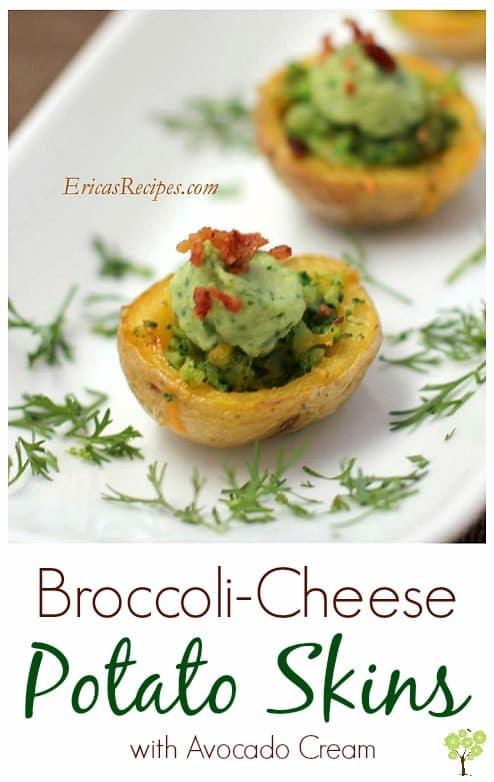 Broccoli-Cheese Potato Skins with Avocado Cream from EricasRecipes.com