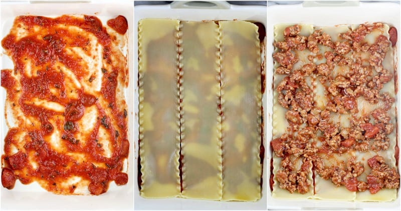 collage of 3 photos to show the steps and lasagna ingredients: left, sauce in the lasagna dish; center, 3 noodles laid out to form the first pasta layer; right, first layer of meat sauce