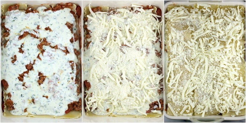 collage of 3 photos to show the next steps and lasagna ingredients: left,ricotta-herb  sauce over the meat sauce layer; center, the cheeses; right, the final pasta layer topped with cheeses