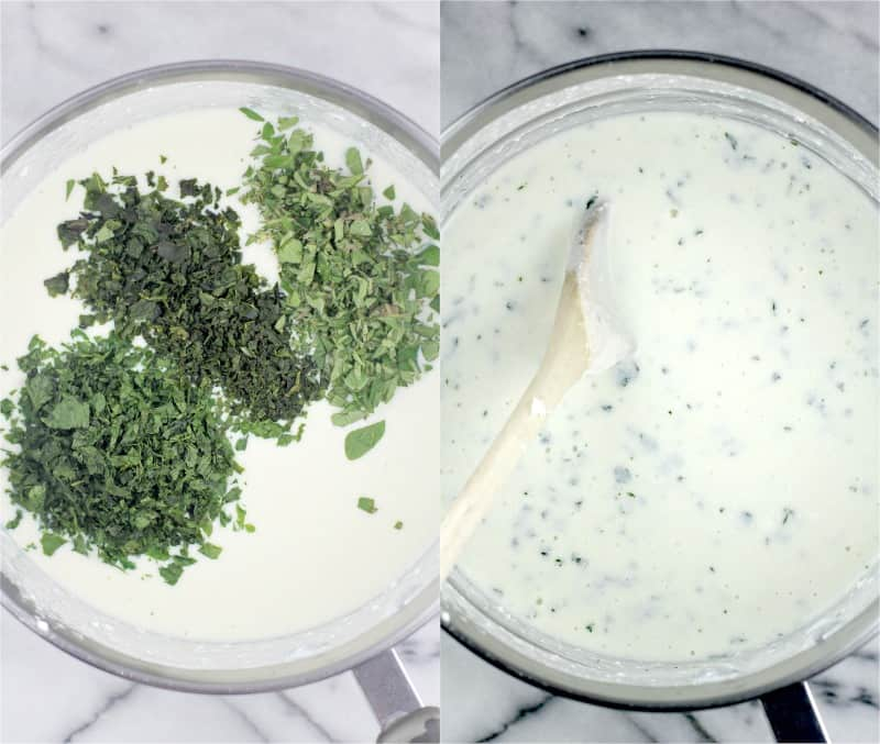 collage of 2 photos: left, the 3 herbs on top of the bechamel in a medium saucepan on a marble surface; right, the herbs mixed in with a wooden spoon