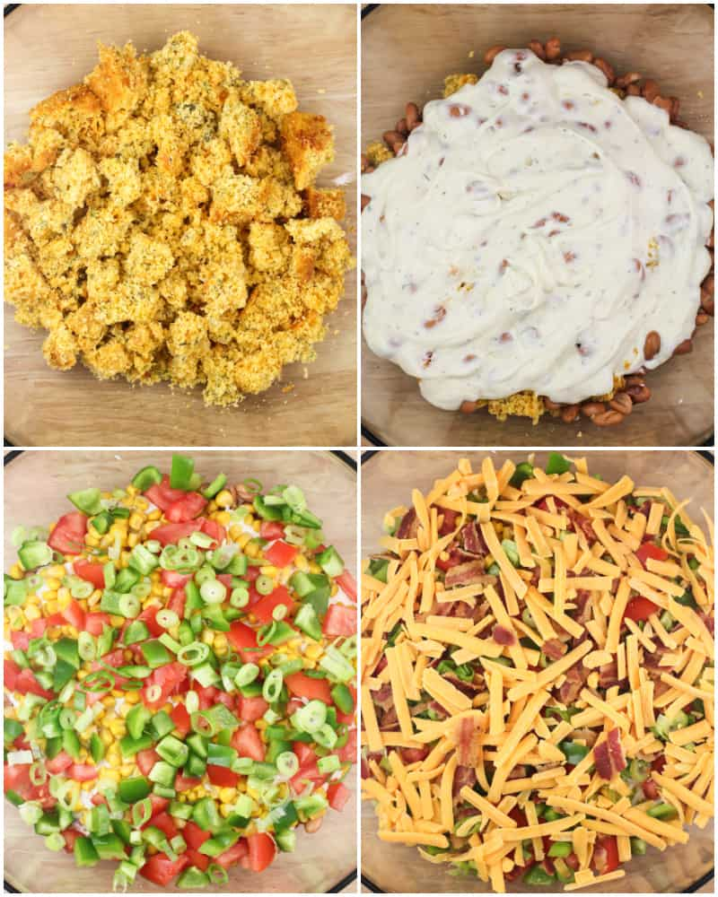 collage of 4 photos: top left; crumbled cornbread in glass bowl; top right; ranch over pinto beans in glass bowl; bottom left, layered green onion, tomato, and bell pepper; bottom right; layered cheese and bacon