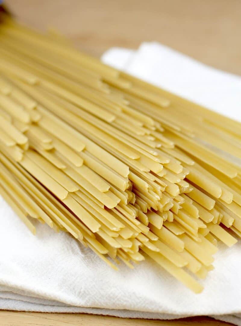 uncooked dried fettuccine noodles