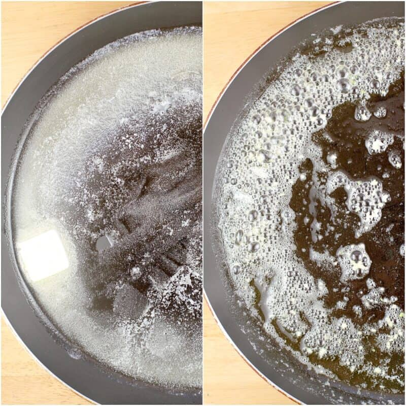 collage of 2 photos: left, butter melting in a skillet; right, garlic cooking in butter