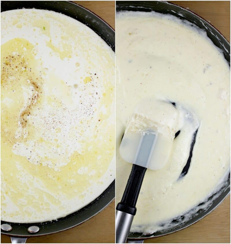 collage of 2 photos: left, cream added to melted butter; right, a creamy sauce after cooking