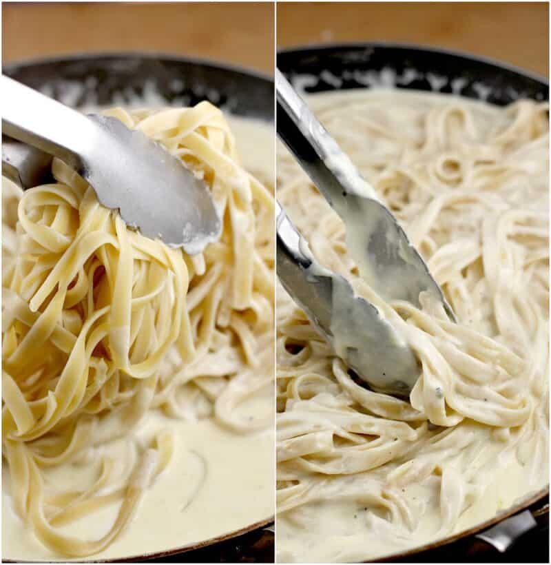 collage of 2 photos: left, pasta being added to cream sauce in a skillet; right, tongs tossing the pasta in the alfredo
