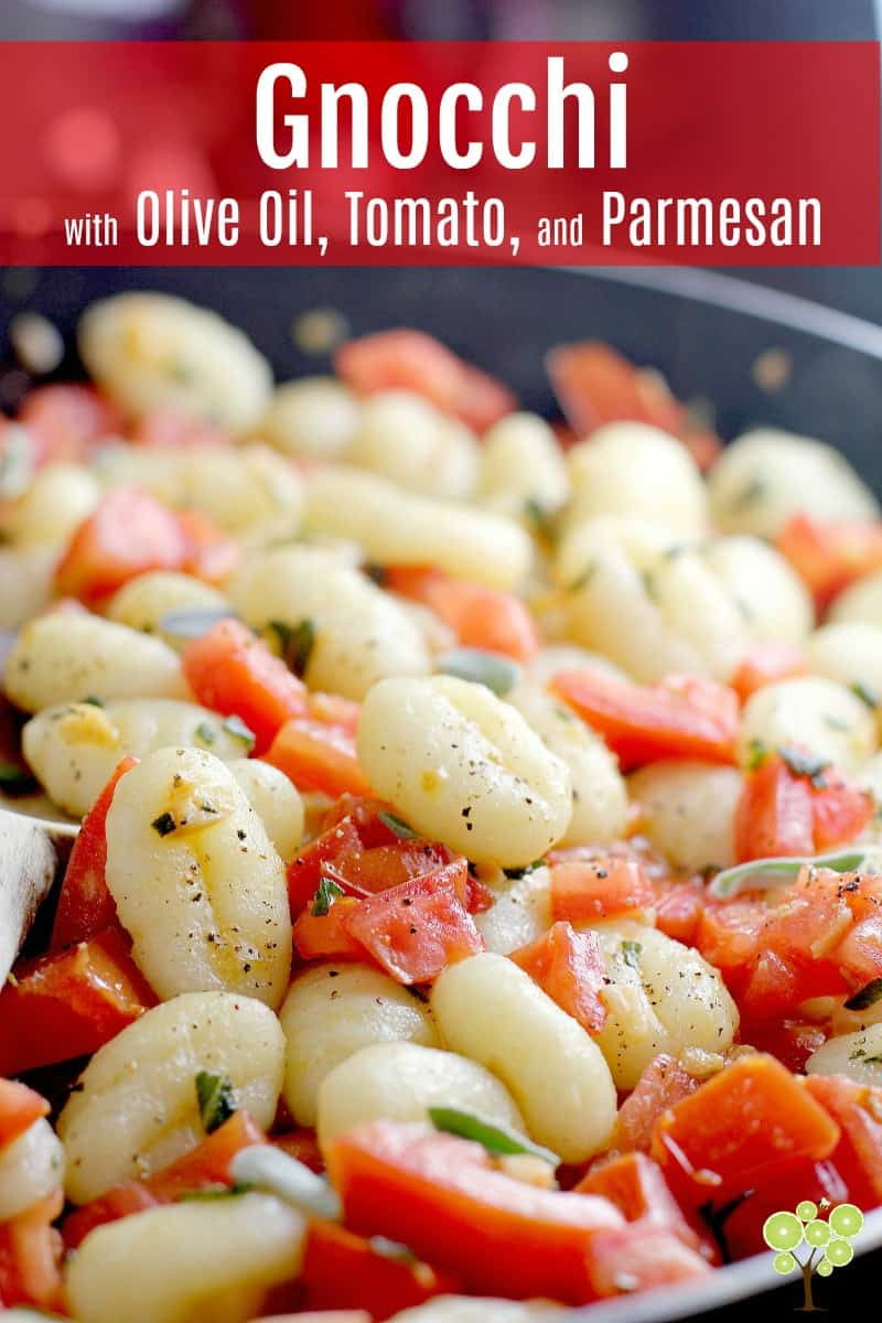 This quick and easy weeknight meal is a perfect little dinner to have in your arsenal for those busy stressful weeks. Quick-cook, Gnocchi with Olive Oil, Tomato, and Parmesan with ingredients make for a satisfying, affordable, lovingly elegant vegetarian dinner. #food #vegetarian #dinner #quick #recipe #gnocchi #parmesan