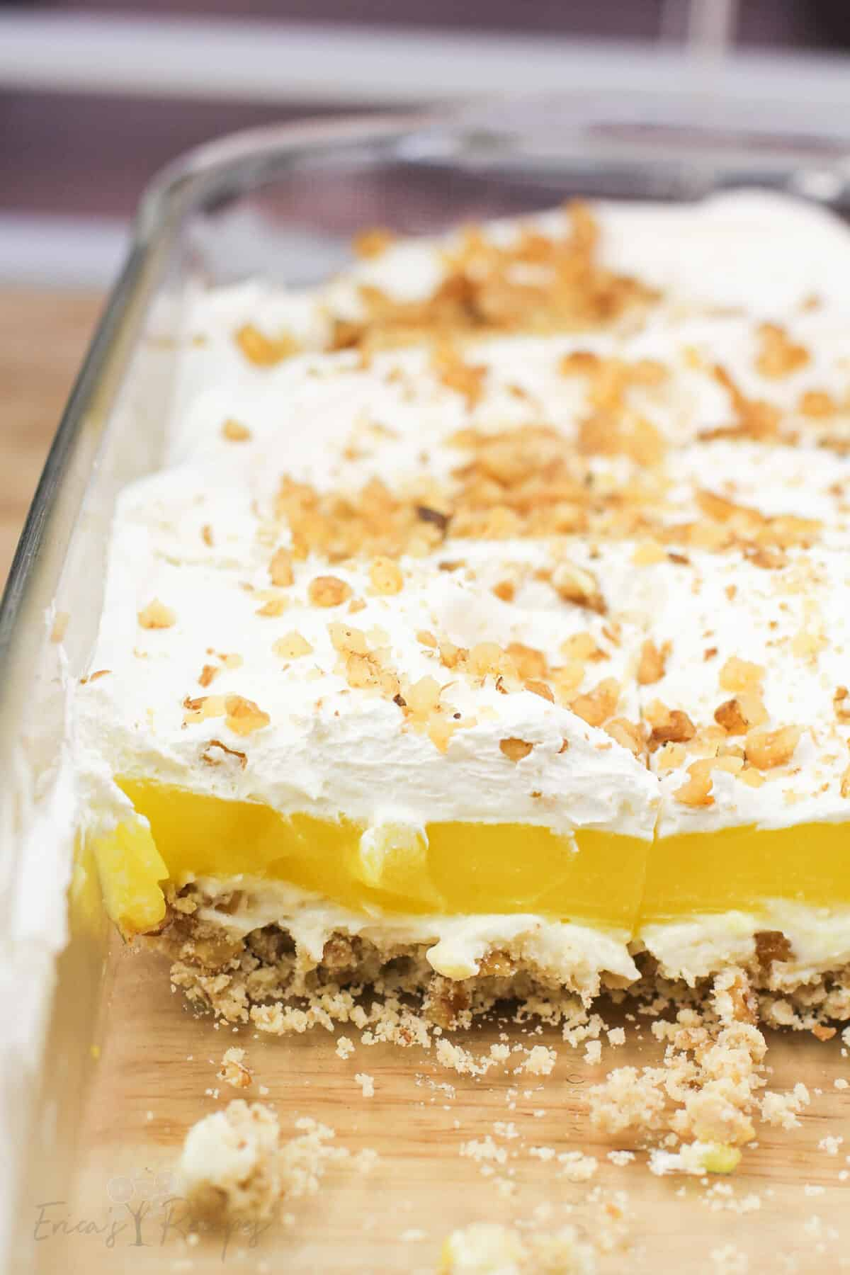 lemon delight in Pyrex bake dish, cross section to show layers