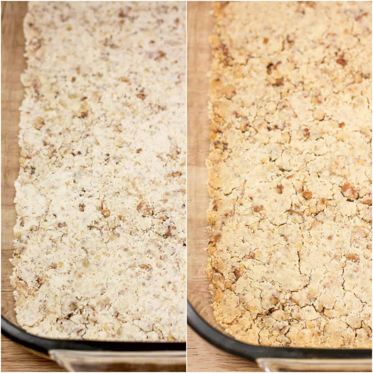 collage of 2 photos showing walnut crust before and after baking