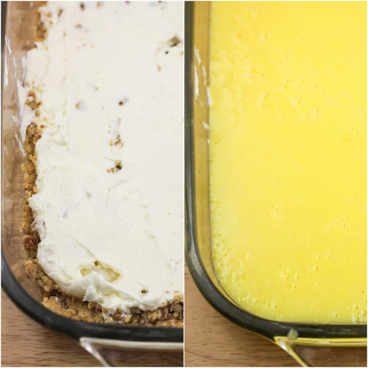 collage of 2 photos showing the cream cheese and lemon pudding layers