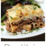 Get ready to dirty some pans, we're making Pastitsio! A Greek food, baked pasta, ground beef casserole, this cozy recipe is comprised of gorgeous layers baked to a creamy, egg-y awesomeness. #greekfood #food #recipe #cozycasserole #comfortfood #cheese #groundbeef #familydinner #casserole