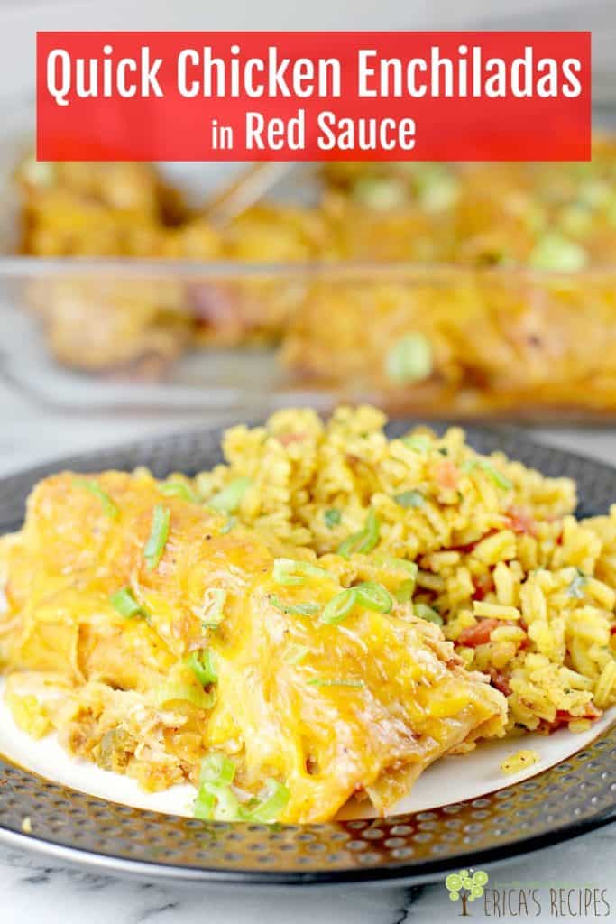 Rotisserie chicken, salsa, enchilada sauce, and loads of cheese are to the rescue in this, the easiest chicken enchilada recipe ever.Quick Chicken Enchiladas let you enjoy this Mexican classic on a weeknight or freeze until ready to bake. Family-pleasing, kid-friendly, cheesy delicious easy chicken enchiladas. #enchiladas #easychickenenchiladas #cheeseenchiladas #food #recipe #Mexicanfood #chickenenchiladarecipe