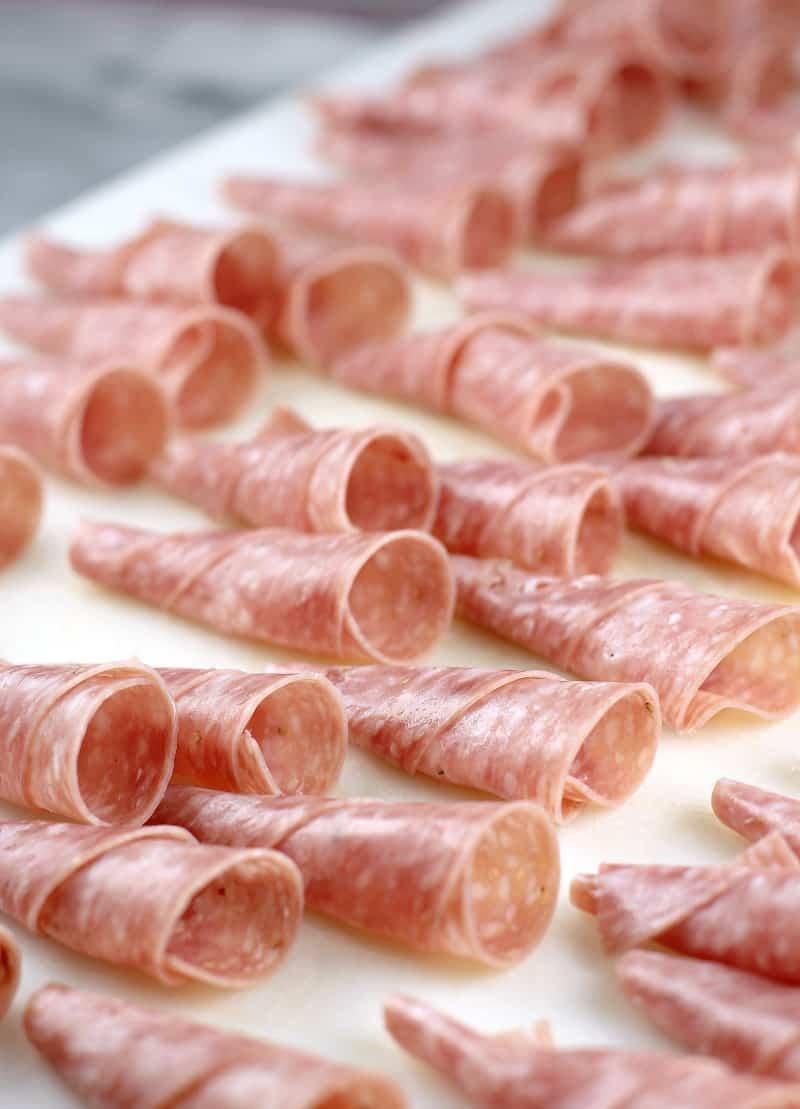 assembled, empty salami cornucopia