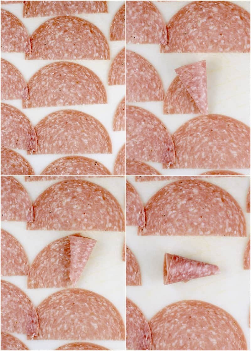 collage of salami on a white background to show the steps to roll the shape into cornucopia
