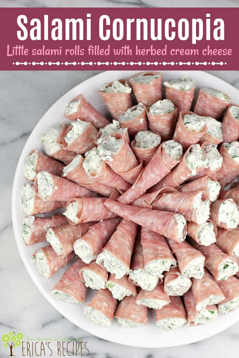Try these cream cheese appetizers with Genoa salami cornucopia for a fun finger food idea on your next meat and cheese tray.