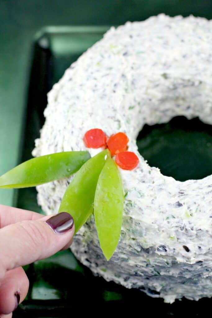 view of the wreath to show the bell pepper garnish