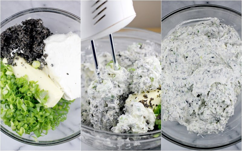 collage of three photos showing the making of the dip: ingredients in a bowl, the hand mixer, the finished Scallion Olive Dip