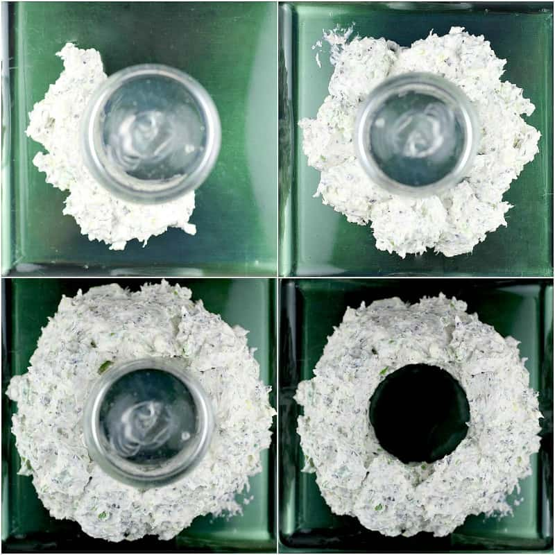 collage of 4 photos, top down, showing the forming of the cheese wreath around the glass