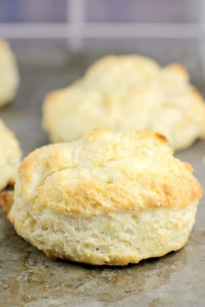side view of a cooked biscuit