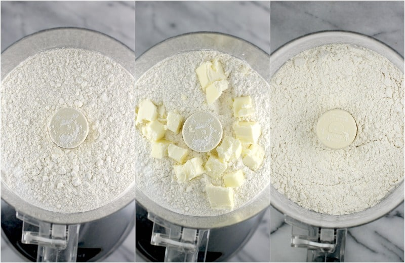 collage of 3 photos: left, dry ingredients in a food processor; center, butter added; right; butter incorporated into the dry ingredients