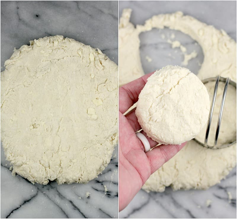 collage of 2 photos: left, the formed disk of dough; right, a hand holding a cut round of dough