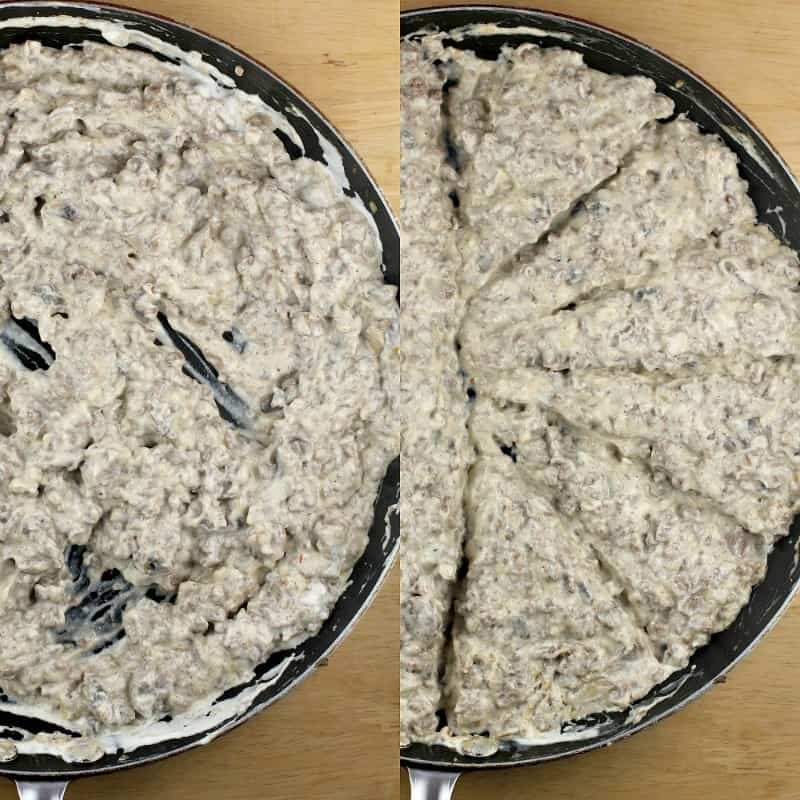collage of 2 photos: left, beef stroganoff; right, stroganoff divided into portions in a skillet