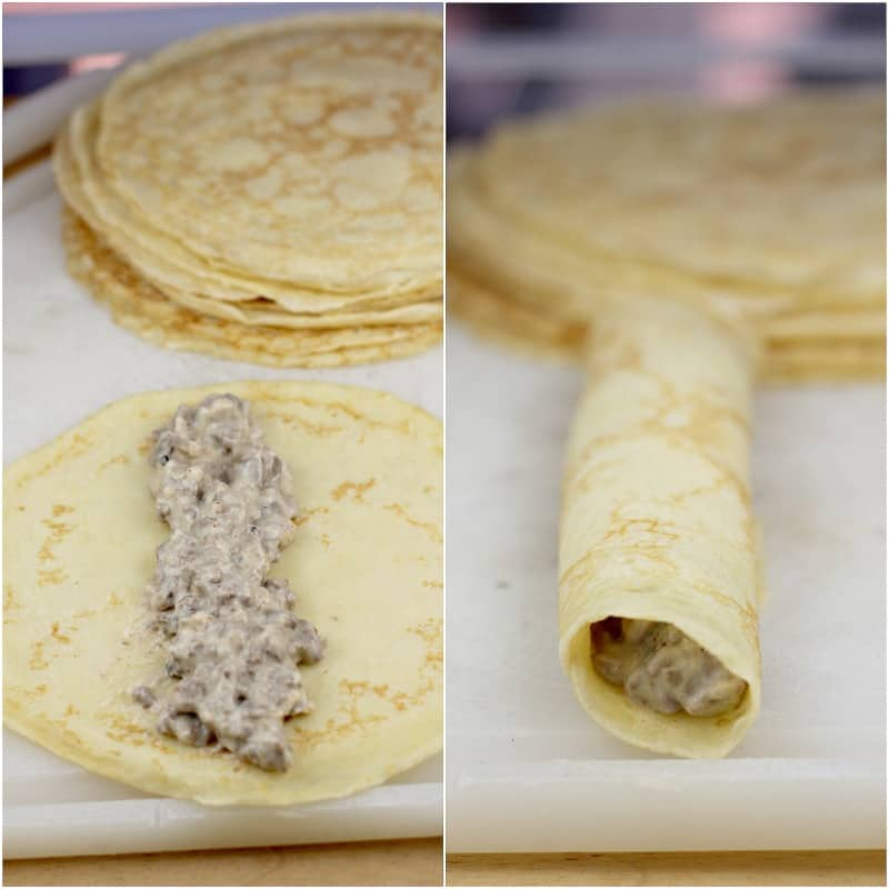 collage of 2 photos: left, filling on a crepe; right, rolled up crepe