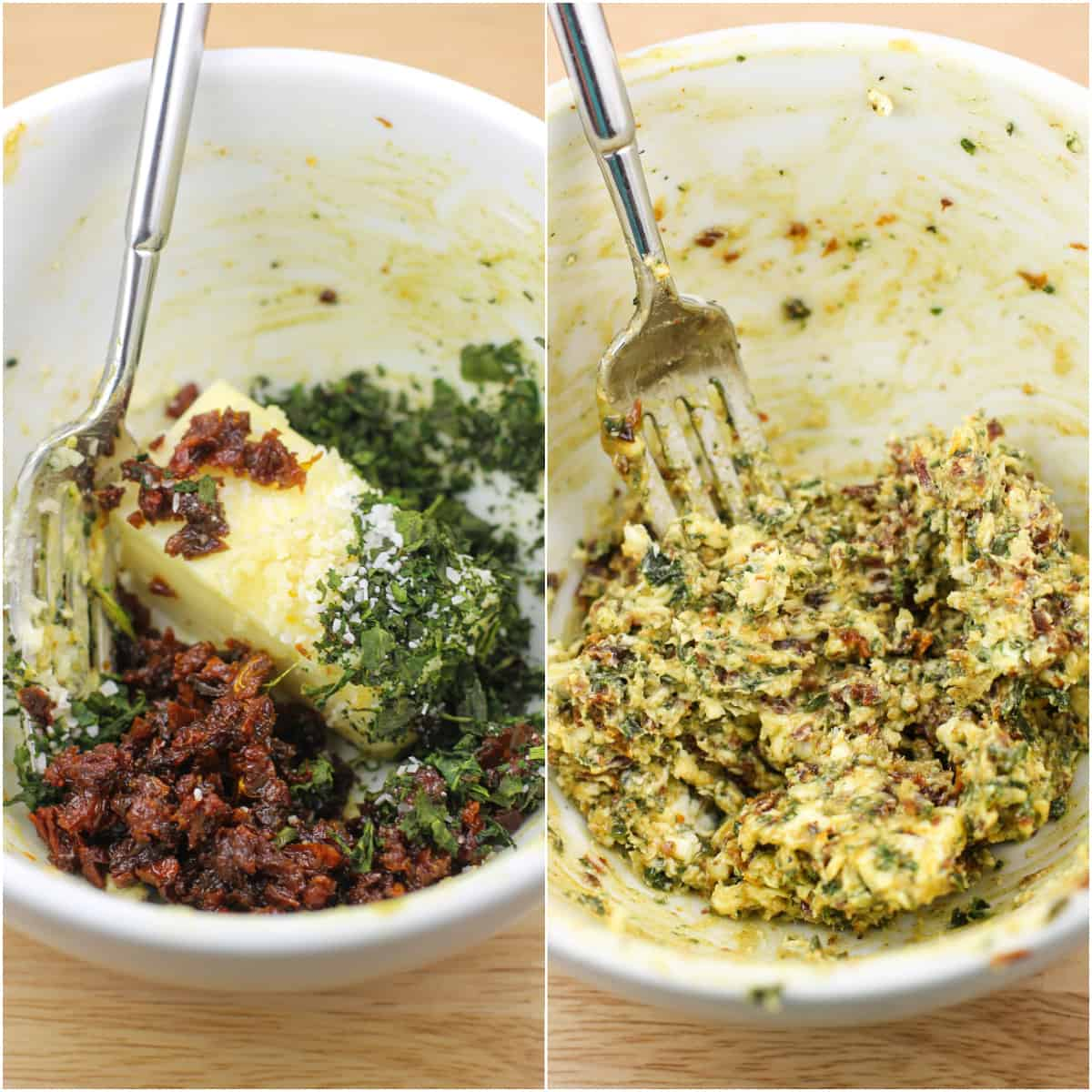 collage of 2 photos: left, ingredients in white bowl with fork; right, ingredients combined