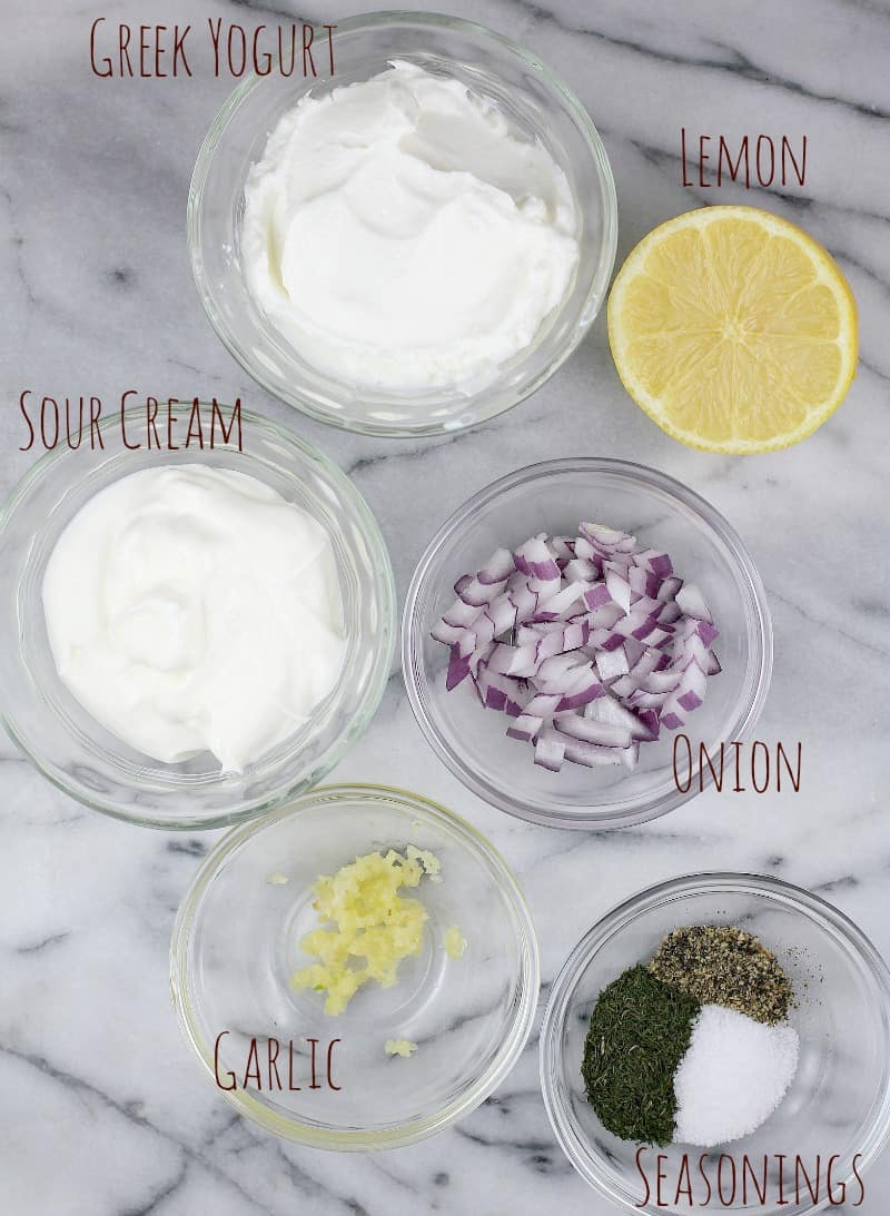 top down view of the Greek yogurt dip ingredients, each in a little clear glass bowl