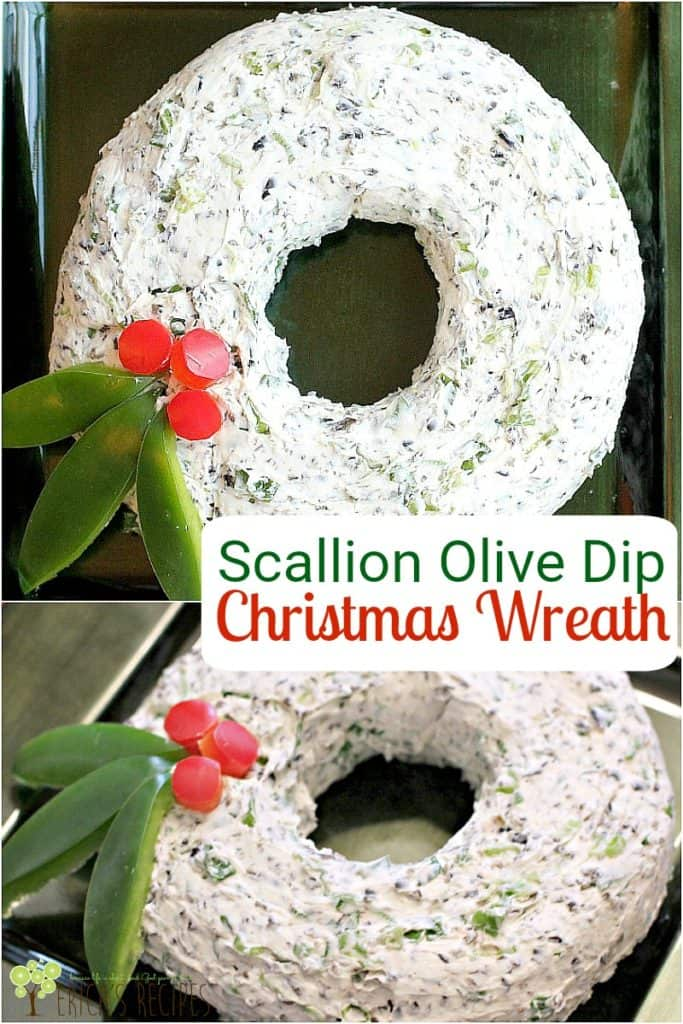 Scallion Olive Dip Christmas Wreath