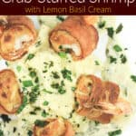 image for pinterest with text overlay of recipe title bacon-wrapped crab-stuffed shrimp with lemon basil cream