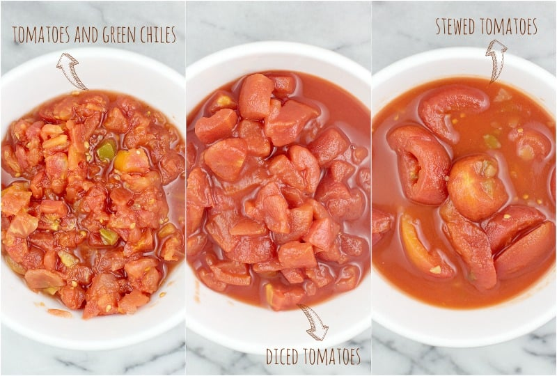 collage showing the different varieties of canned tomatoes, each in a white bowl, top down view