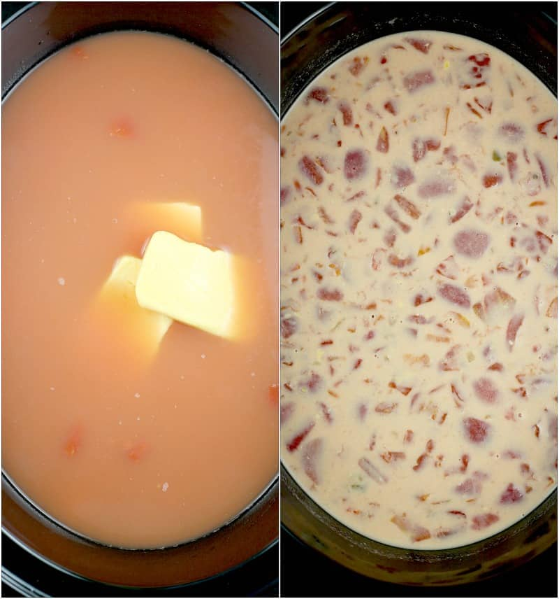 top down view into the slow cooker showing the addition of the Velveeta cheese on the left and the creamy melted combined soup on the right
