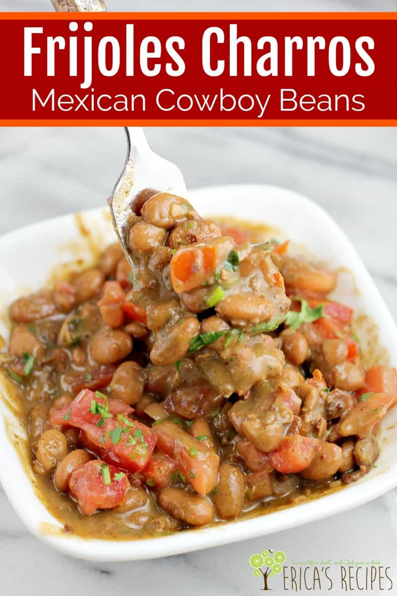 Frijoles charros, Mexican Cowboy Beans, is a ranch style beans recipe that cooks slowly for the most flavorful, authentic frijoles a la charra ever.
