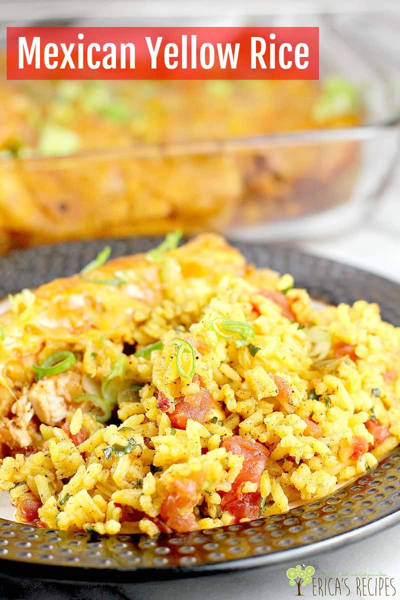 The simple, store-bought yellow rice elevated with extra touches of diced tomato and chilies and simple seasoning. Mexican Yellow Rice is a perfect fancy, but-not-fancy, go-to for an easy side for your Mexican Taco Tuesday. #food #recipe #sidedish #rice #Mexican