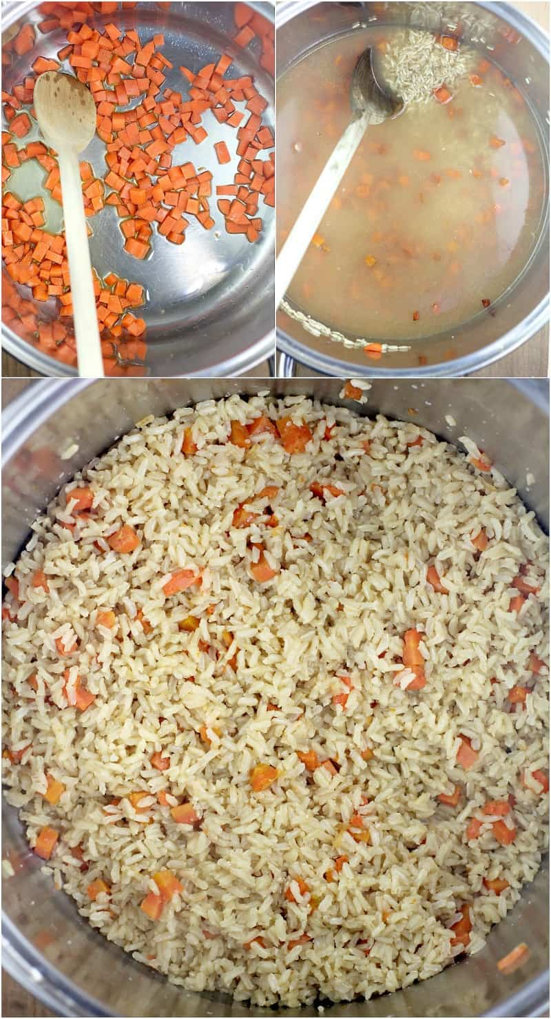 collage of 3 photos: top left, carrot in pot with olive oil and wood spoon; top right, stock added to carrot in pot; bottom, cooked brown rice in pot with carrot