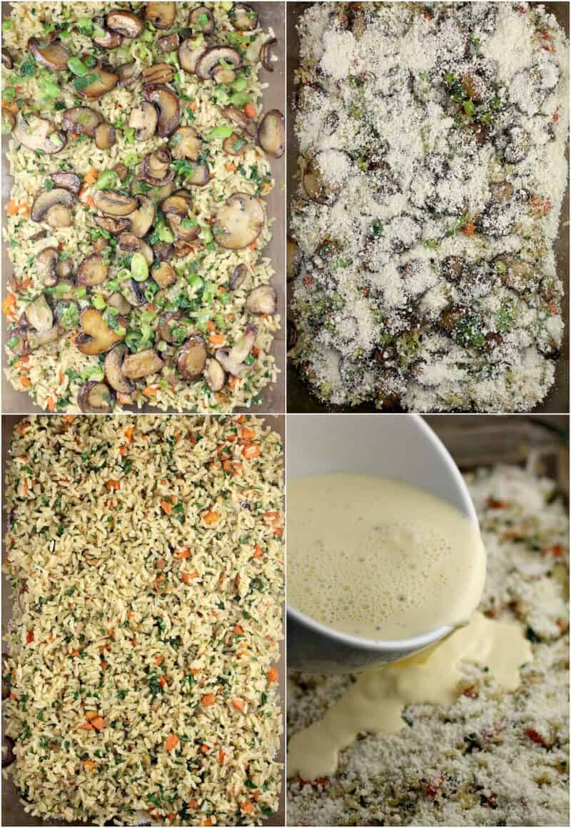 collage of 4 photos showing assembly of the casserole: top left; mushroom and green onion layered over brown rice; top right, layer of parmesan cheese; bottom left, top layer of brown rice; bottom right, egg mixture pouring over rice