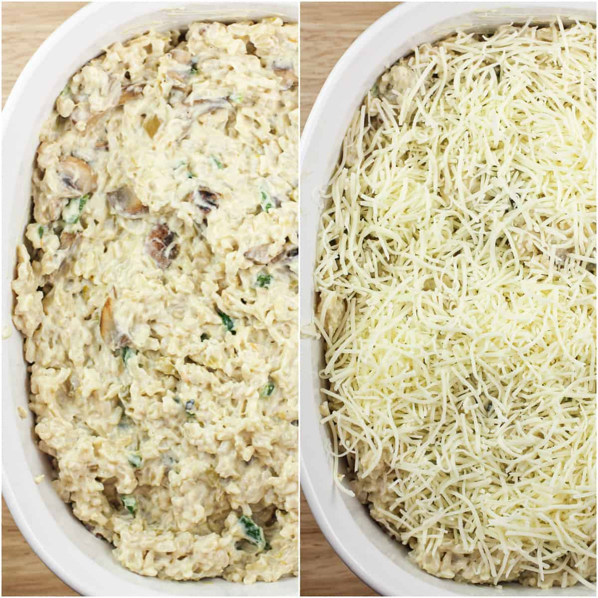 collage of 2 photos: left, green chile rice ingredients combined in white casserole dish; right, green chile rice topped with cheese before baking