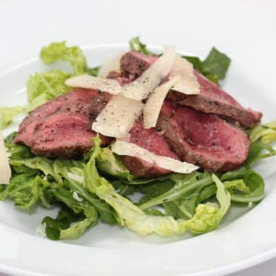 Grilled Steak with Arugula and Parmesan Salad