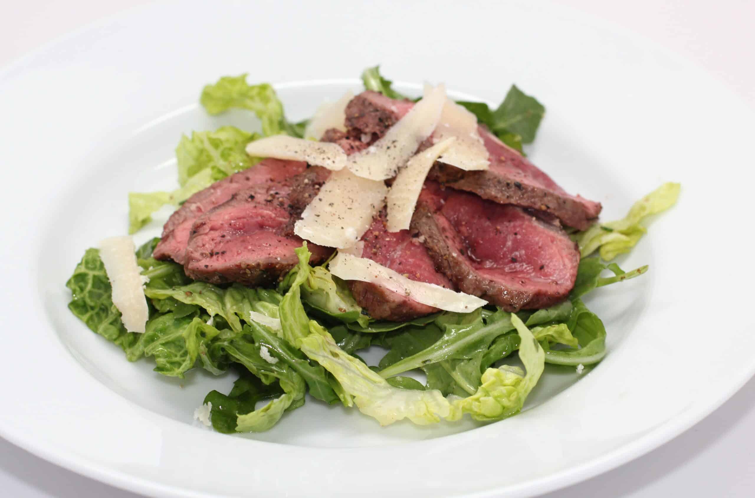Grilled Steak with Arugula and Parmesan Salad