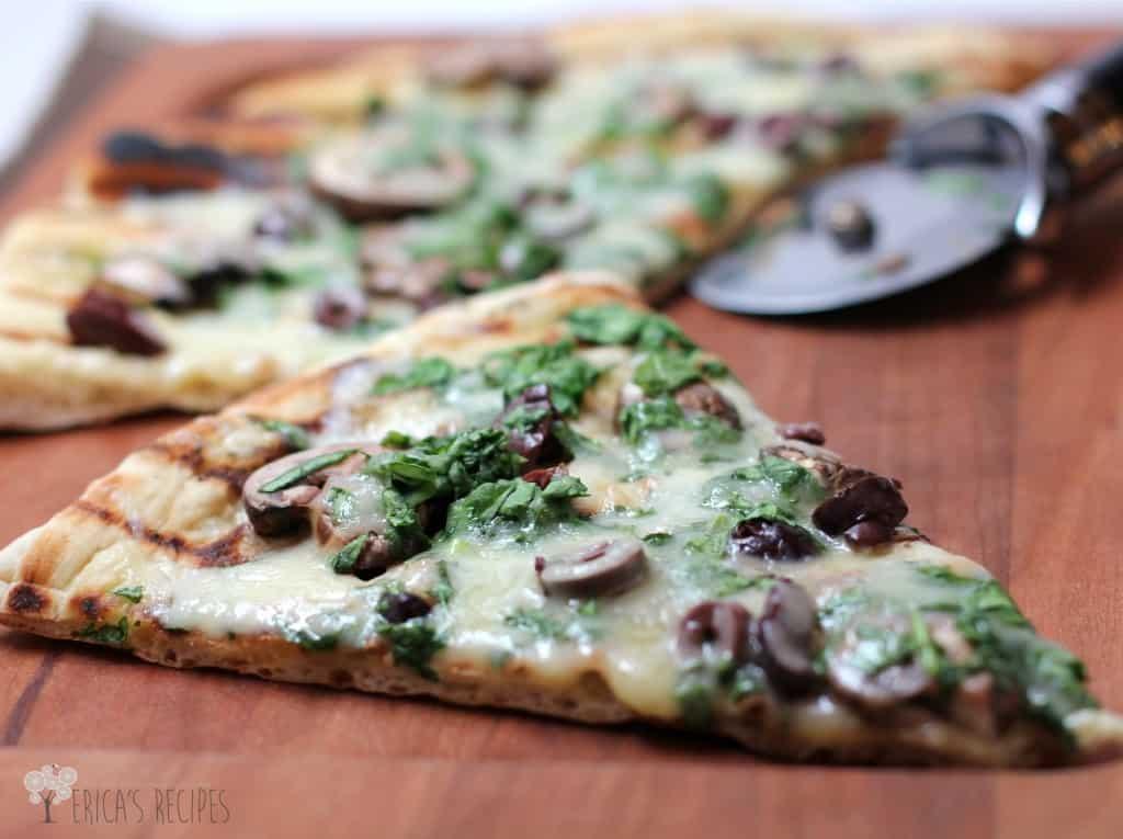 Grilled Bistro Pizza with Mushrooms, Kalamata Olives, and Fontina | EricasRecipes.com