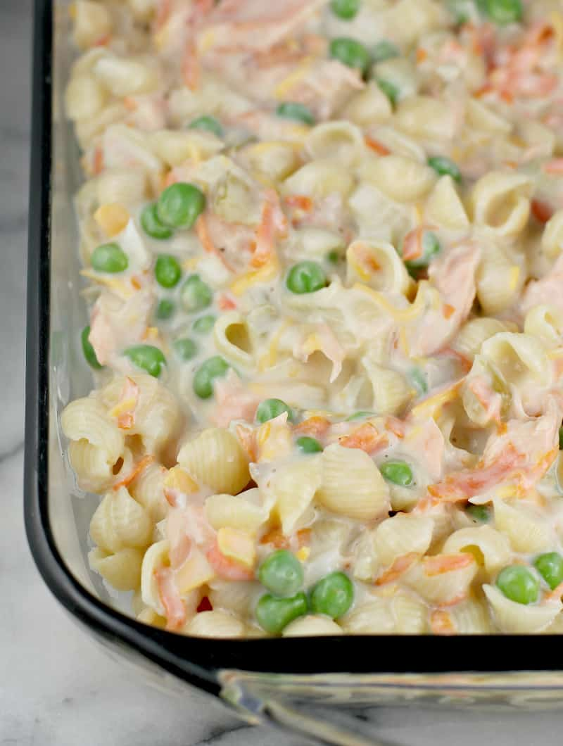 prepared uncooked casserole in a glass bake dish, without crackers on top yet