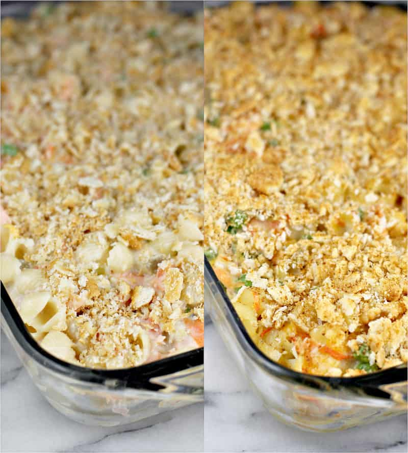 collage showing prepared casserole, topped with crackers, before and after cooking to show the golden top after cooking