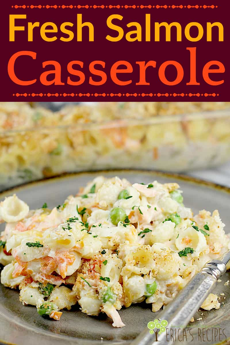 Cheesy, comforting, Fresh Salmon Casserole. This salmon casserole recipe with crackers is easy for a weeknight and even the leftovers are SO GOOD. #freshsalmon #salmoncasserole #salmonrecipe